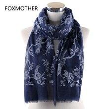 FOXMOTHER весенний шарф темно-серая Птица на ветке печати шарфы шаль обертывания Foulard Femme Мода Bufandas Mujer