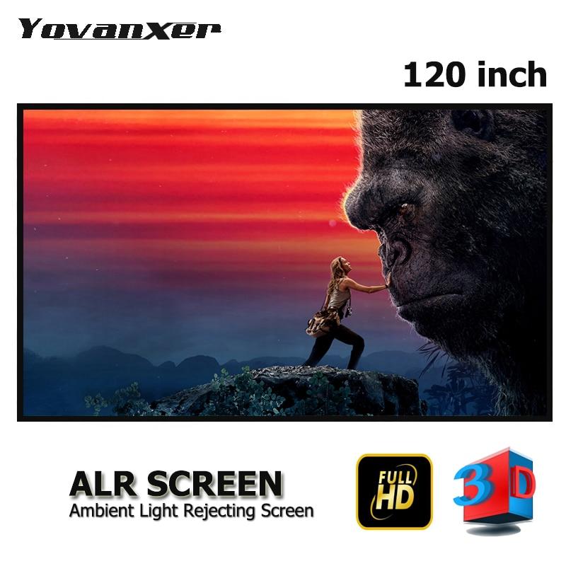 Telas de projetor anti-luz de alta classe 120 polegadas 16:9 cinza cristal magro quadro alr projeção tela cinza borda ultra estreita
