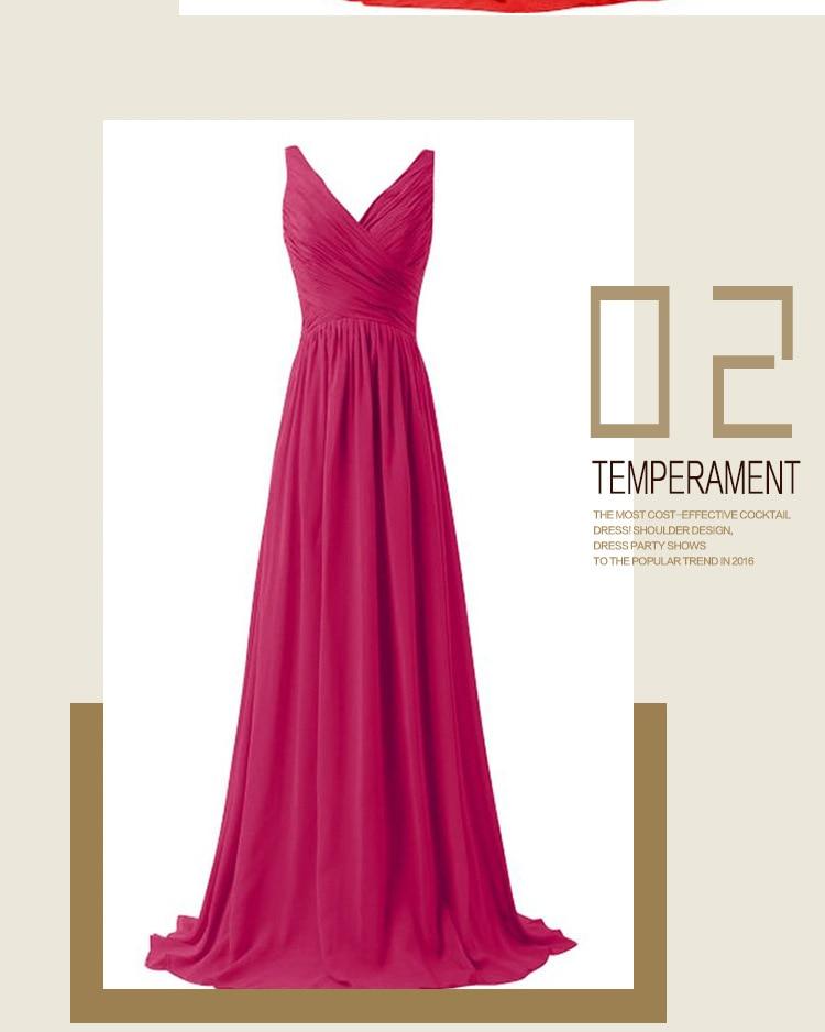 Sexy Women Prom Dresses V-Neck Sleeveless A-Line 20 Color Chiffon Long Prom Party Dress Bridesmaid Dresses Vestidos Q003
