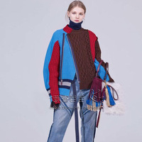 DEAT 2019 Autumn Winter New Fashion Trend Clothing Long sleeved Solid Long Sleeve Irregular Stitching Sweater WI320