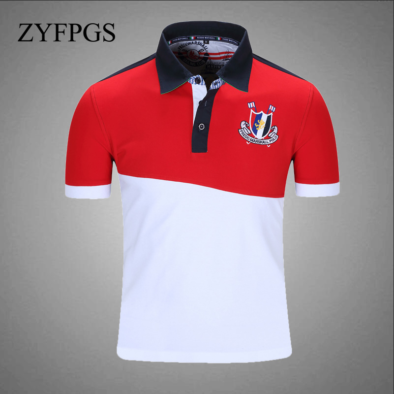 ZYFPGS 2018 Mens   Polo   Red and white stitching Men's   Polo   Slash Design Short Sleeve Oversize Design Summer Top Trend Z0615