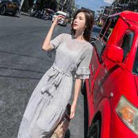 2019 nuevos de las mujeres vestido de verano Vestido de manga corta de corte Slim a rayas de cuello redondo elástico en la cintura
