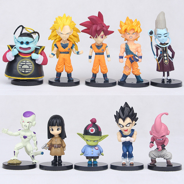 10 pçs/set WCF Dragon Ball Z Super Saiyan Goku Buu Jaco Zeno Action Figure Set Toy Dragonball Vegeta presente para crianças