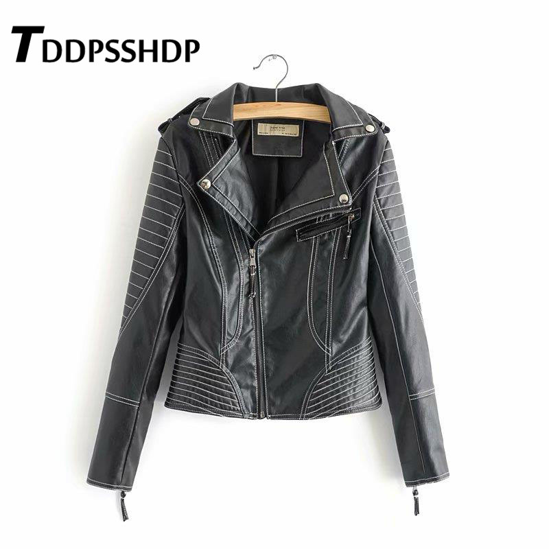 New Spring Women Motorcycle PU   Leather   Coat 2019 Black Color Soft Turn-Down Collar Female   Leather   Top