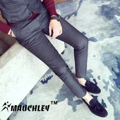 ed096643f368 Mauchley 2017 Korean Men s Trousers Dark Vertical Stripes Temperament Small Straight  Trousers Men Slim Fit Pants