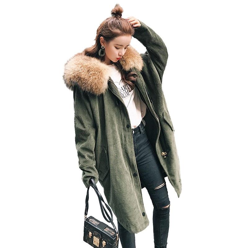 Winter Jacket Women Large Raccoon Fur Parka 2017 Corduroy Winter coat Lady Thick Warm Fake Lambswool Lining Coat lwela 2017 new large raccoon fur collar parka winter jacket women korean fashion corduroy outwear thick warm hooded coat