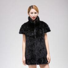 Трикотажные пальто норки натуральный мех вязаный жакет Стильный Нагрудные бат рукав A женщина с цветами зимой теплую одежду L-4XL