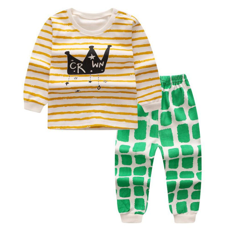 6 Style Fashion Cartoon Sweet Baby Cotton Cute Suits Long sleeve T-shirts + Pants Kids Boys Girls Clothing Set