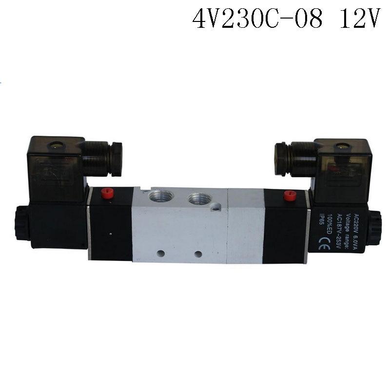 Pnematic Solenoid Valve 5/3 5 Way 3 Position 1/4 BSP 4V230C-08 Double Coil Center Closed LED Light  DC12v 5 way pilot solenoid valve sy3420 5d 03