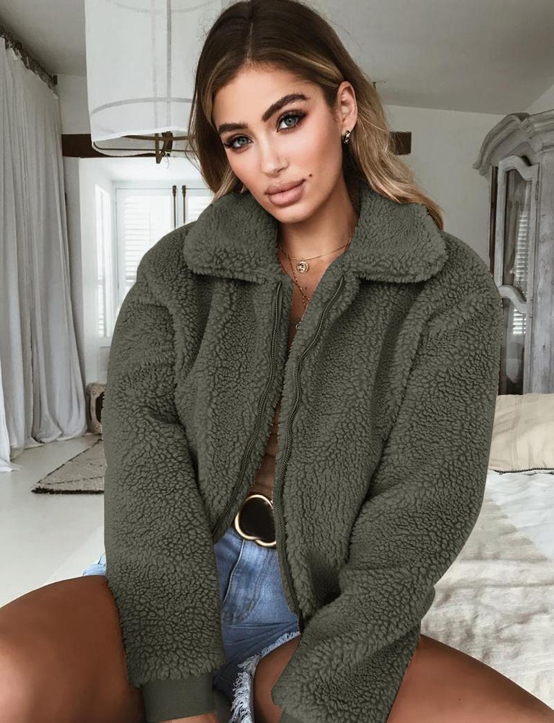 19 Winter arrival Women Cotton Fluffy Long Sleeve Jacket Ladies Warm Outerwear Cardigan Coat 12