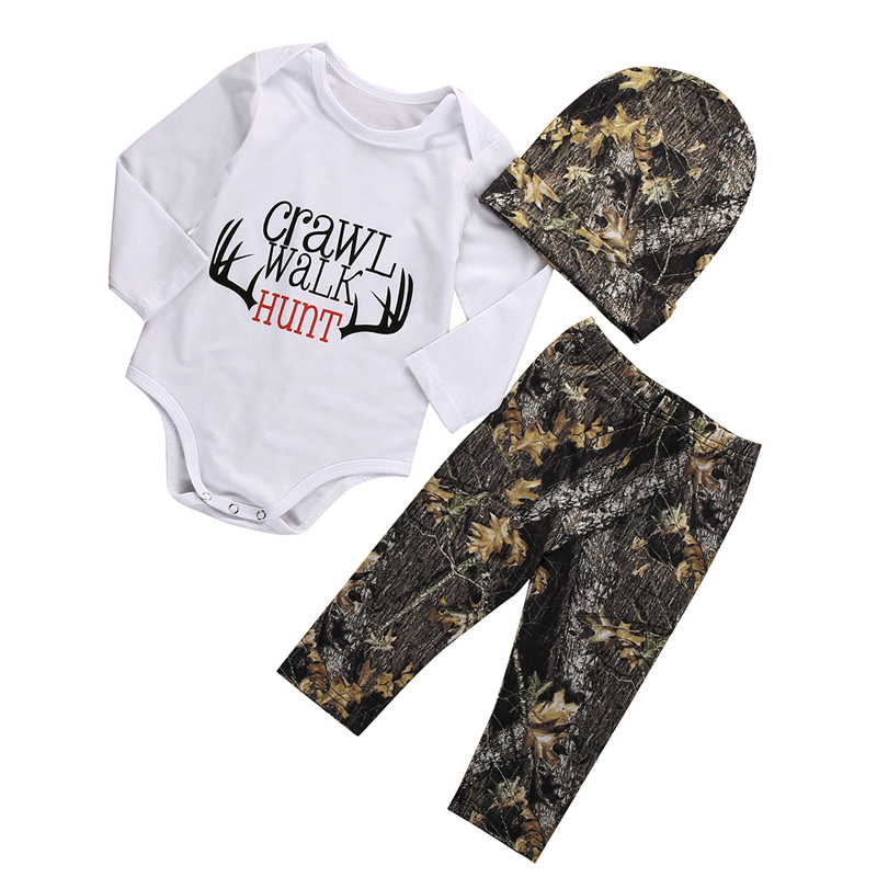 3PCS New Casual Newborn Baby Boys Girls Clothes Long Sleeve Tops Romper Pants Hat Outfits Set Clothes