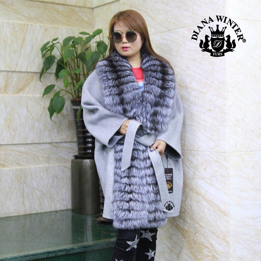 100 Laine Silver D'hiver Pardessus Réel Épais 1712 Manteau Fox De Femmes Fourrure Naturel rrdaCwq