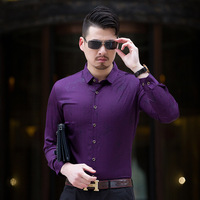 New Fashion Flower Print Casual Shirt Men Long Sleeve Turn Down Collar Bussiness Floral Print Slim
