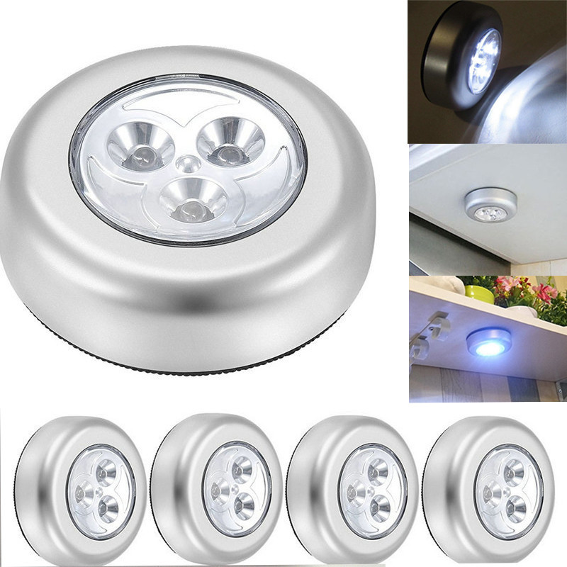 Kitchen Cabinet Lamp 3LED Round Touch Night Lamp Push Silver Battery Powered Kitchen Cabinet Cupboard Closet Door Emergency Lamp