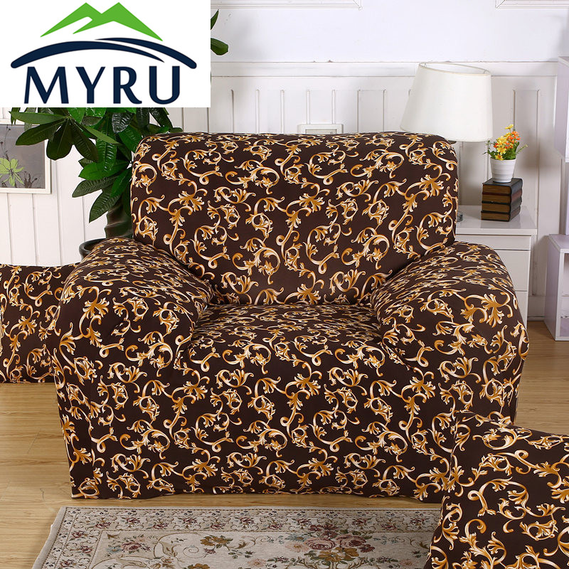 Brown Chaise Sofa Cover Elasticity Flexible Couch Cover Loveseat Sofa Funiture Cover Machine Washable Slip resistant