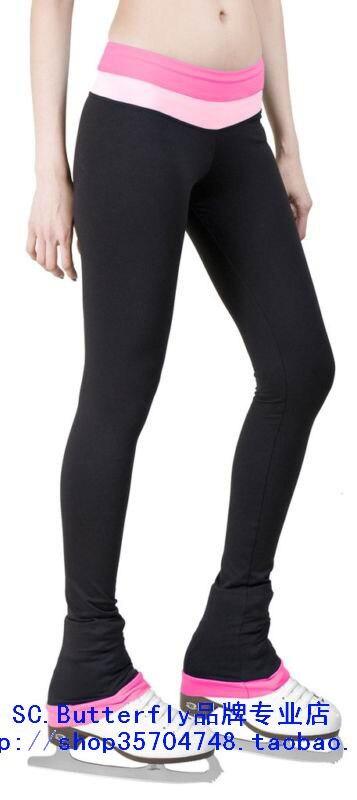 цена  ice skating trousers black pink spandex custom figure skating trousers for girls women custom ice figure trousers  онлайн в 2017 году