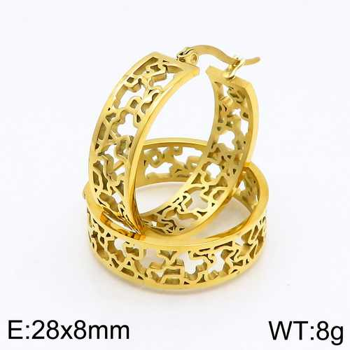 Foreign trade hot titanium steel jewelry Fashion hollow gold and silver earrings Mascot circle earrings