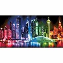 5D FAI DA TE Pieno di Diamanti Quadrato Ricamo Paesaggio Immagine Di Strass Luminosi Luci Grande Città Disegni E Schemi Per Puntocroce Decor