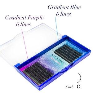 Image 5 - Neue ankunft NAGARAKU regenbogen lash farbe lash farbe lash ombre synthetische nerz weiche natürliche nerz einzelne wimper verlängerung