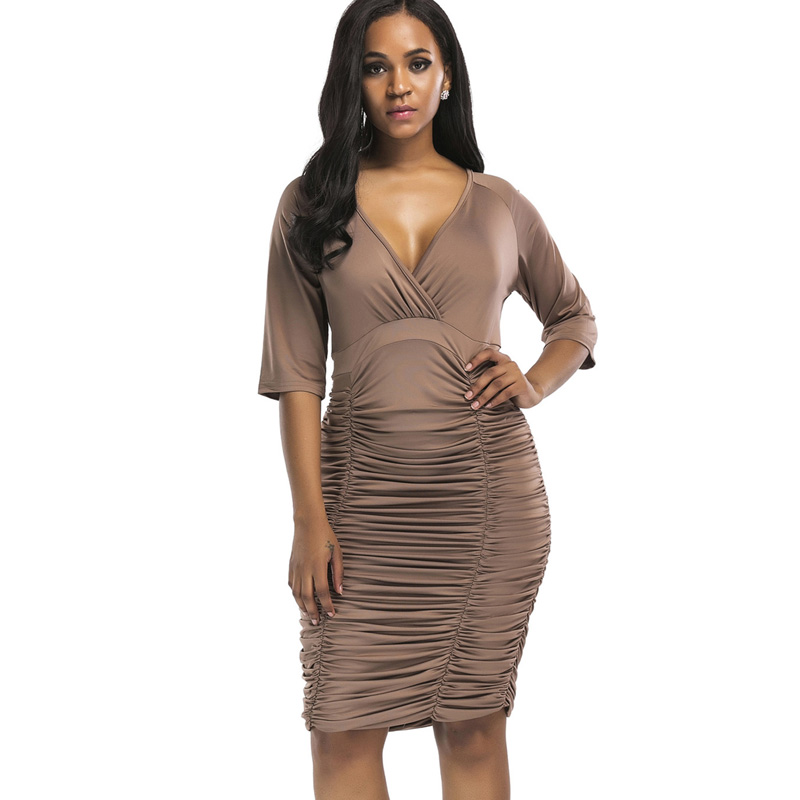 78fc08e90a2cb US $16.82 35% OFF|QIUXUAN Plus Size Ruched Knee Length Dress Raglan Sleeve  Wrap Dress Fashion Plunge Neck High Waist Dress Women Bodycon Dress-in ...