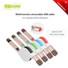 SZYHOME Multi-function retractable 2 in 1 For Lightning and Micro USB cable line For iPhone 5 5S 6 6S 7Plus Android For xiaomi