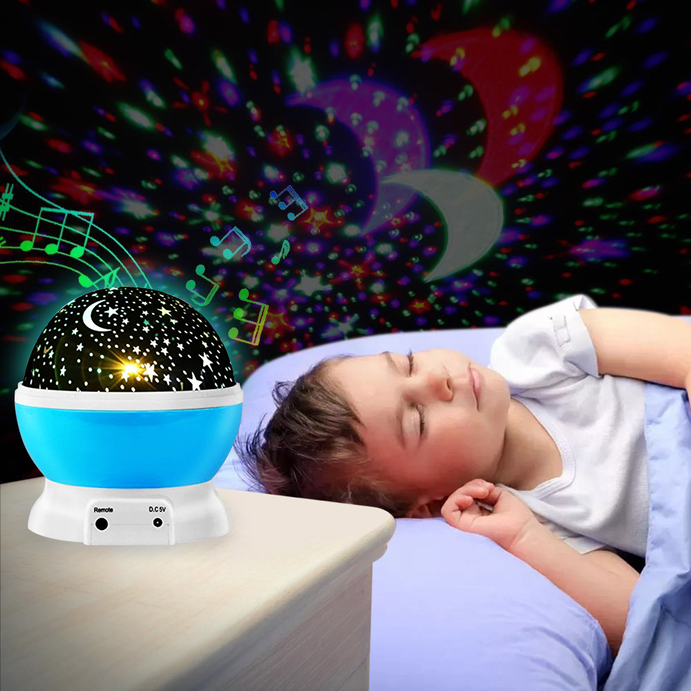 Star Projector Rotating Starry Night Light W/ Remote Music Speaker Novelty Moon Sky Kids Baby Nursery Bedroom USB Operated Lamp 7colors led night light starry sky remote control ocean wave projector with mini music novelty baby lamp led night lamp for kids