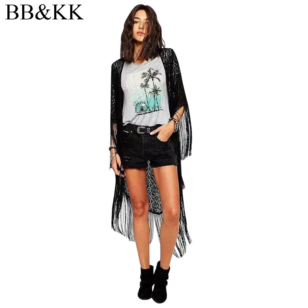 Camicetta delle donne Long Black Beach Kimono Signore Maxi Cardigan Kimono Floreale Crochet Allentato Kimono Cardigan Lungo Camicetta Outwear