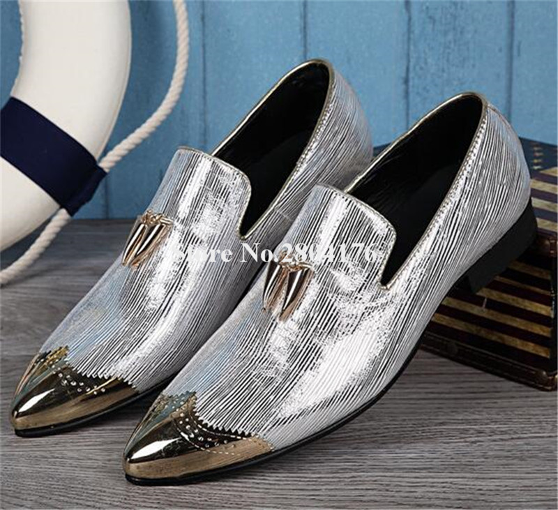Western Style Men Pointed Metal Toe Silver Grey Spike Leather Leisure Shoes Slip-on Luxury Casual Flat Shoes Wedding Shoes cangma british style leather pointed shoes tassel casual men handmade designer leisure slip on shoes 2017 male sapato masculinos