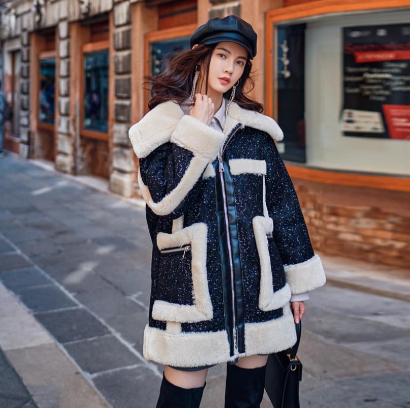 Chaud D'agneau Nouvelle Tops À Manches Gx1562 En De Marque Mode Hiver Vestes Longues Feamle Black Zipper Manteaux Survêtement Laine Patchwork 2018 Poches Grandes X58wff