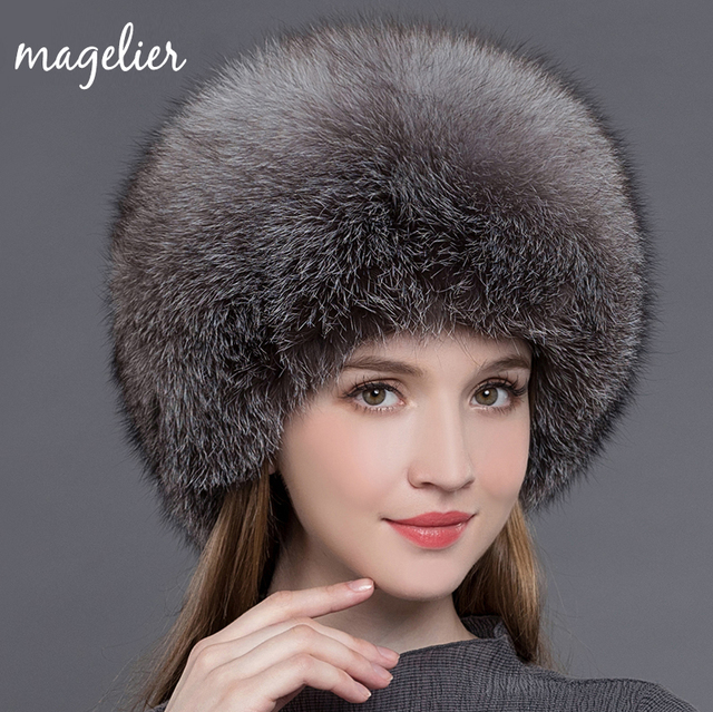 Magelier Real Fur Hats for Women Winter Warm Ears Luxurious Big Natural Fox  Fur Caps White Fashion Brand Beanies New MZ017 5bf97a493