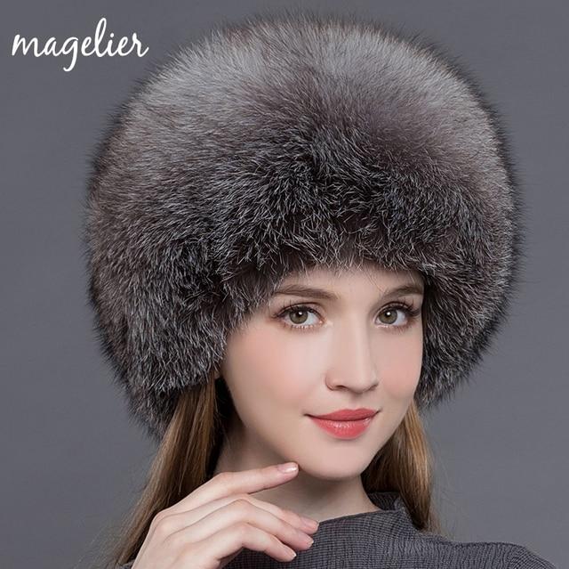 e2b85c7cdaf466 Magelier Real Fur Hats for Women Winter Warm Ears Luxurious Big Natural Fox  Fur Caps White Fashion Brand Beanies New MZ017