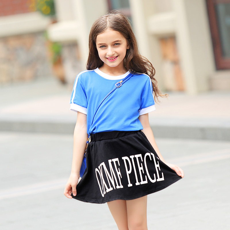 Teenager Girl Summer Suit Short Sleeves T Shirt+Short Pants Skirt Two Piece Cotton Clothing Sets Casual Kids Clothes 6-15Yrs