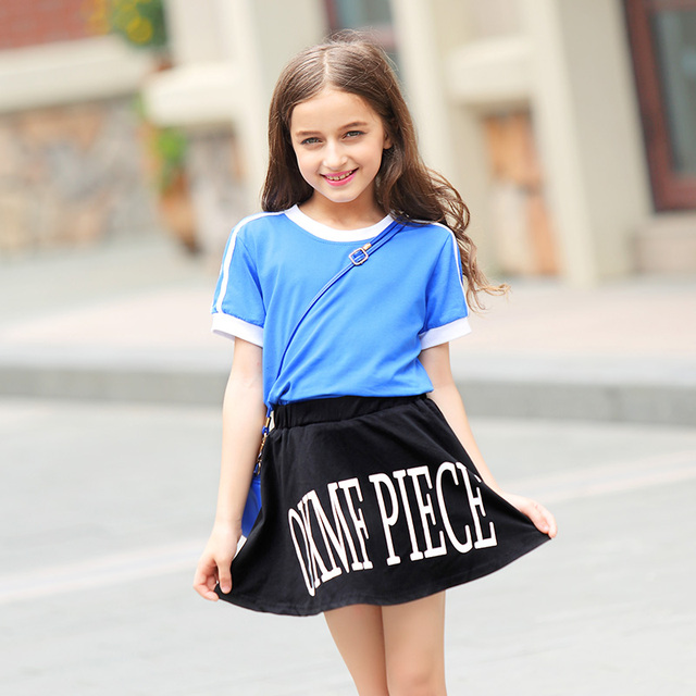 7dc042669bb Teenager Girl Summer Suit Short Sleeves T Shirt+Short Pants Skirt Two Piece  Cotton Clothing Sets Casual Kids Clothes 6-15Yrs