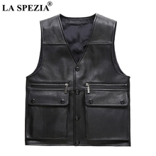 LA SPEZIA Biker Vest Genuine Leather Men Black Sheepskin Waistcoat Male Warm Motorcycle Punk Plain Plus Size 4xl Autumn Gilet