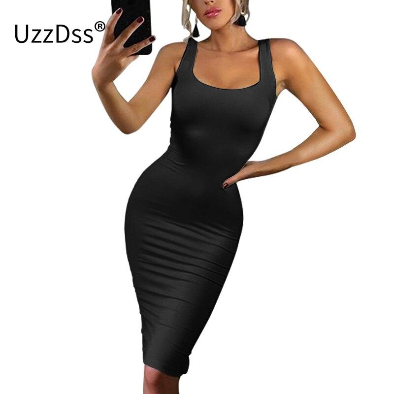 UZZDSS Womens Sexy Magro Bodycon Vestido Vestidos Leite Vestidos de Seda Escovado Malha O pescoço Sem Mangas Vestido Tanque 4 Macarrão cores