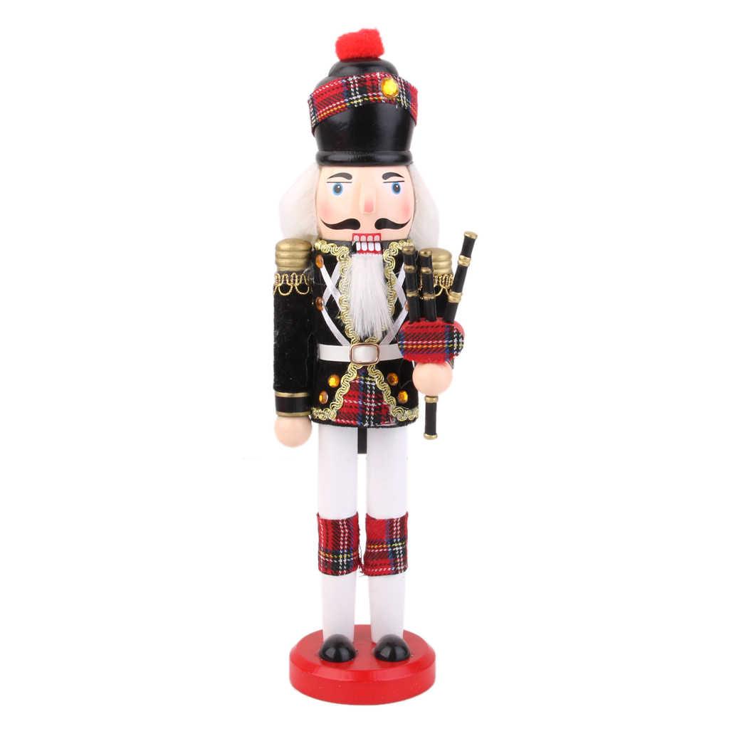 2pcs 13/'/' Wooden Nutcracker Drummer Walnut Soldier Music Box Kid Xmas Gift Decor