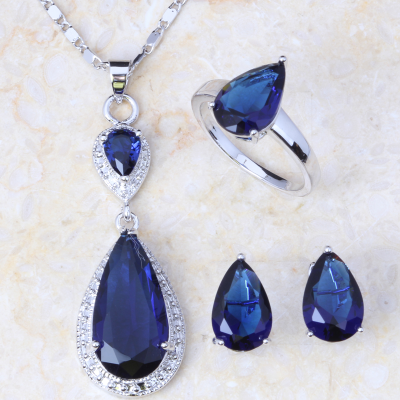 Jewelry-Sets Earrings Necklace Pendant Gift-Bag Ring-Free Silver-Plated Cubic-Zirconia