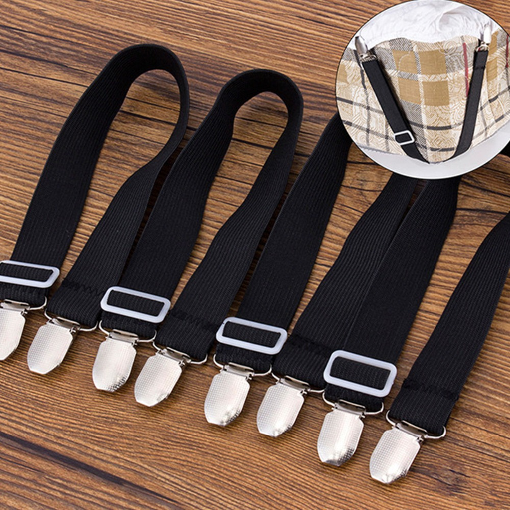 8 METAL CLASP BED SHEET GRIPPERS FASTENERS STRAPS ELASTIC ADJUSTABLE NEW