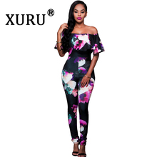 XURU Summer New Large Size Womens Print Jumpsuit One Shoulder Sexy Leotard Pink Black