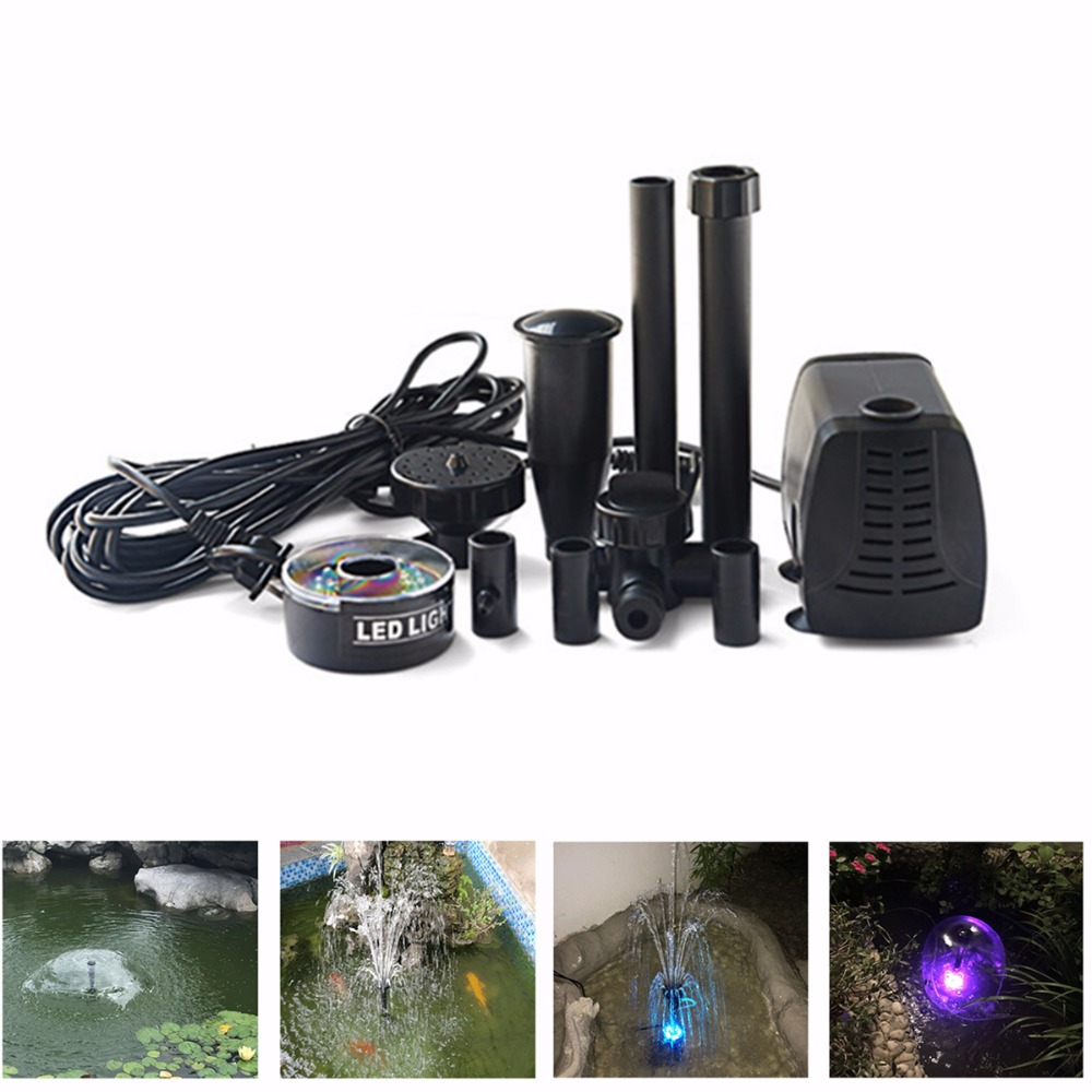 Pool Fish Pond LED Submersible Pump Fountain Maker 40W 2000L/H For Garden Landscaping