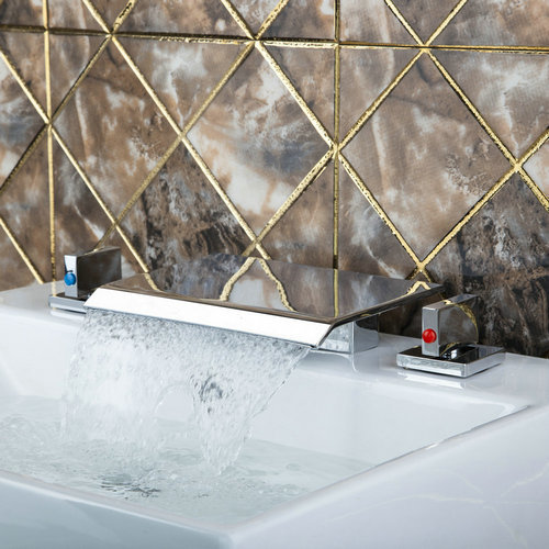 Waterfall Spout Vessel Bathtub Torneira 3 Pieces Double Handles Chrome 62A Deck Mount Bathroom Basin Sink Brass Tap Mixer Faucet deck mount waterfall spout 3pcs brass basin sink faucet dual handles 3 holes mixer tap chrome finish