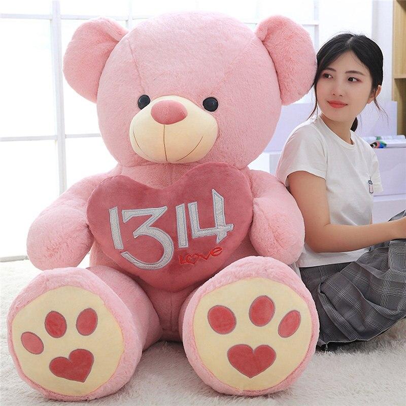 100-150 cm grand ours en peluche en peluche 1314 amour énorme ours en peluche porter Bowknot ours enfants jouet cadeau d'anniversaire pour petite amie