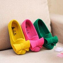 Горячие Продажи Детей Shoes Большой Бант Стекаются Конфеты Цвета Девушки Shoes Принцесса Плоские Shoes Slip-На Девочек Сандалии Одиночные Девочка Shoes(China (Mainland))