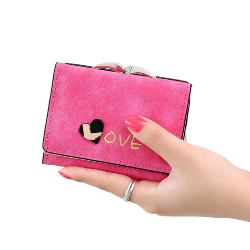 Brand new Women Wallets carteras mujer Fashion Ladies Love Nubuck Coin Purse Short Hasp Clutch Wallet Card Holders Gift 1pcs carteras love heart women girls coin purse wallet card holders comfystyle si 26d