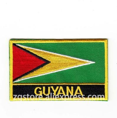Вышивка Нашивки Национальный флаг Гайана Флаг Нашивки гладить на 8.0x5.0 см пользовательские Нашивки
