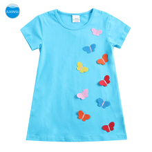 JUXINSU Toddler Girls Cotton Summer Short Sleeve Butterfly Dresses for Baby Girl Kids Clothes 1-6 Years