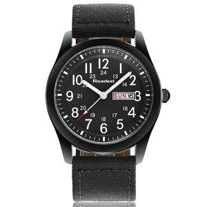 Image 3 - Readeel Relojes de pulsera de cuarzo para hombre, reloj informal militar deportivo con fecha y semana, de lona, gran oferta