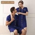 2016 Hot Casual Azul Cardigan para as mulheres Verão tiro manga Sleepshirt camisola Terno de Malha de Algodão 1635