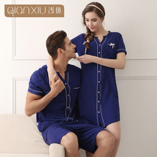 2016 Hot Casual Blue Cardigan for women Summer shot sleeve  nightdress Suit Knitted Cotton Sleepshirt 1635