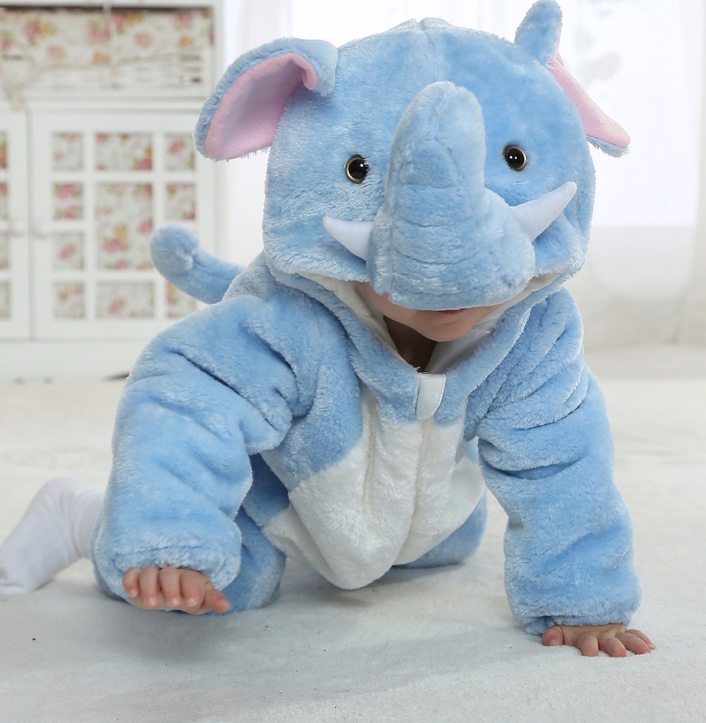 Cute One Piece Animal Infant Halloween Costume for Babies Toddler Winter Cotton Lining Thicken Bodysuit Elephant Baby Clothes cute baby infant high qualit toddler chef cotton costume 3 piece clothes hat white top plaid pants for newborn boys suits hot